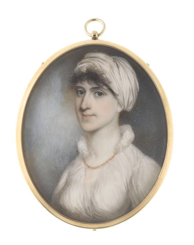 John Barry (British, active 1784-1827) A Lady, wearing white dress and a gold necklace, her dark hair upswept beneath a white turban