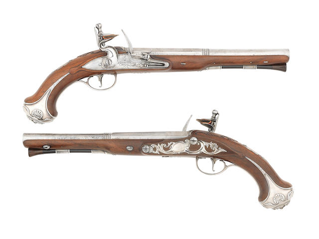 A Fine Pair Of 24-Bore Silver-Mounted Flintlock Holster Pistols