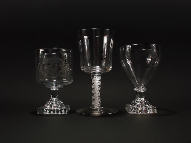 A wine goblet and two rummers, circa 1765 and 1810-20
