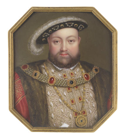 Henry Pierce Bone (British, 1779-1855), after Hans Holbein the Younger (German, c.1497-1543) Henry VIII (1491-1547), King of England (1509-1547), wearing buff doublet slashed to reveal white, embroidered with gold and bearing gold and ruby buttons, small white collar, red cloak embroidered with gold at the sleeves and trimmed with fur, jeweled collar, gold pendant chain, black hat studded with pearls and matching jewels and carrying a large white plume