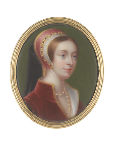 Henry Pierce Bone (British, 1779-1855), after Hans Holbein the Younger (German, c.1497-1543) A Lady called, Catherine Howard (c. 1518-1542), wearing red dress with gold embroidery to her standing collar and white lining, multi-stranded pearl necklace, French hood with gold jeweled frontlet set with rubies and pearls, her black veil falling behind her shoulders