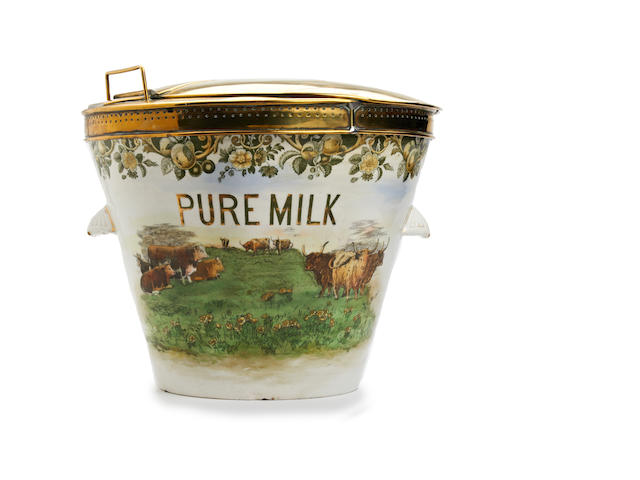 An early 20th century Royal Doulton glazed earthenware and brass-mounted milk pail with measureThe cover with boss stamped 'Dairy Outfit Co., Kings Cross, London' around a shield charged with a milk jug