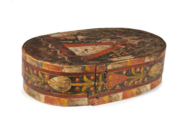A good late 18th/early 19th century polychrome-painted bent pine 'marriage' box, Danish