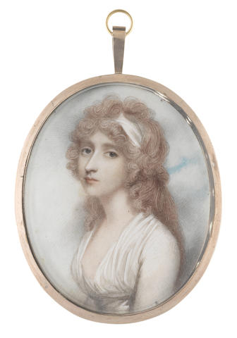 Andrew Plimer (British, 1763-1837) Mrs Anna Blackburn, wearing a white dress, her powdered hair partially upswept and dressed with a white bandeau
