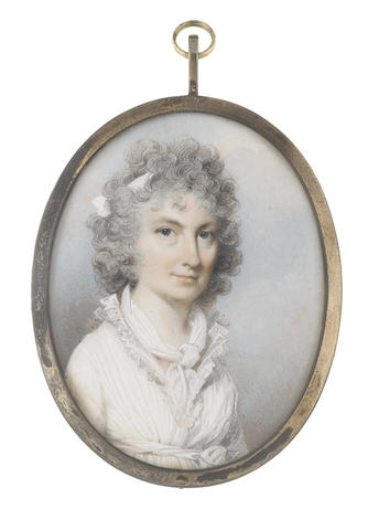 George Engleheart (British, 1750-1829) A Lady, called Mrs Anne Topham, née Sinclair (d. circa 1824), wearing white dress with concertinaed lace collar and waist sash, her fichu tied about her neck, her powdered hair curled, upswept and dressed with a white bandeau