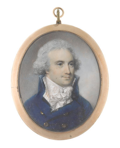 George Engleheart (British, 1750-1829) A Gentleman, wearing blue double-breasted frock coat, cream striped waistcoat, white chemise, stock and knotted cravat, his hair powdered