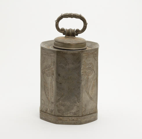 An early 19th century wriggle-work decorated pewter flask, German, dated