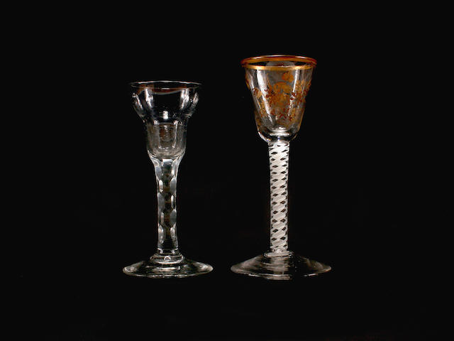 A Giles-decorated cordial glass and a facet-stem glass, circa 1770