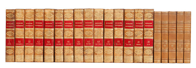 BINDINGS MICHAUD (J.F., editor) Biographie universelle, ancienne et moderne, 85 vol. (First Series, Vols 1-52; Partie mythologique, vol. 53-55; Supplement, Vol. 56-85, all published), 1811-1862