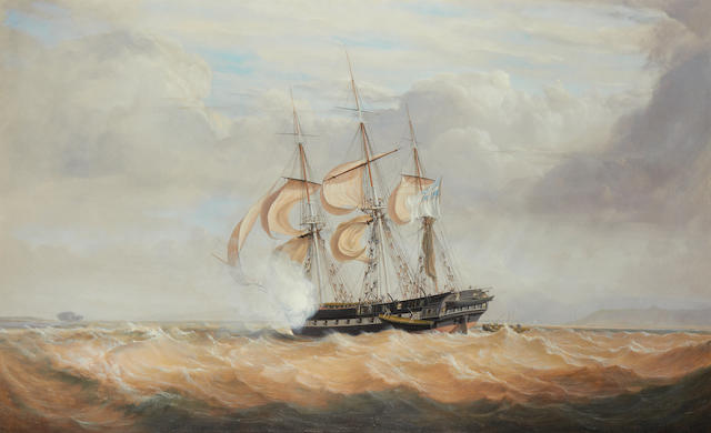 John Christian Schetky (British, 1778-1874) H.M.S. Pique off Labrador, 23rd October 1830