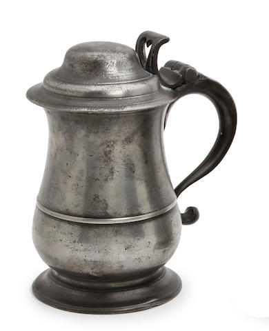 A mid-18th century dome-lidded pewter tankard, circa 1750