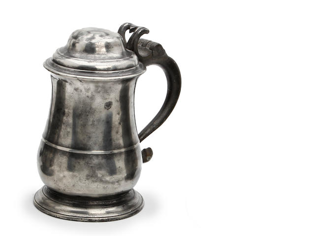 A mid-18th century dome-lidded pewter tankard, circa 1760