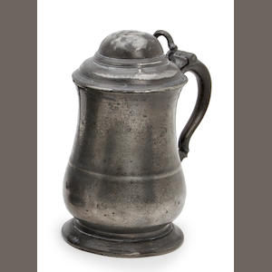 An 18th century dome-lidded pewter tankard, circa 1770