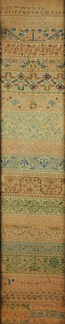 An early to mid-18th century needlework band sampler