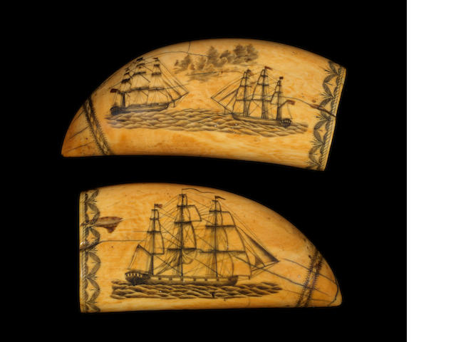 A fine pair of 19th century Scrimshaw whale's teeth. 6ins. (15cm)long, each. 2