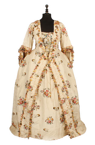 A mid 18th century sack-back gown (robe à la Française)