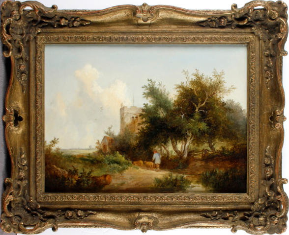 English School, 19th Century Pastoral landscape with a shepherd guiding his flock