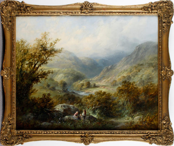Edward Partridge (British Exh. 1880-1896) A valley landscape