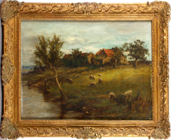 Edwin Nichol (British, 1855-1923) Sheep grazing by a stream