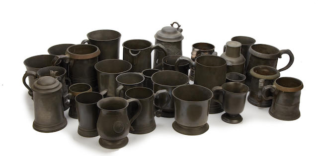 A group of mostly 19th century pewter mugs