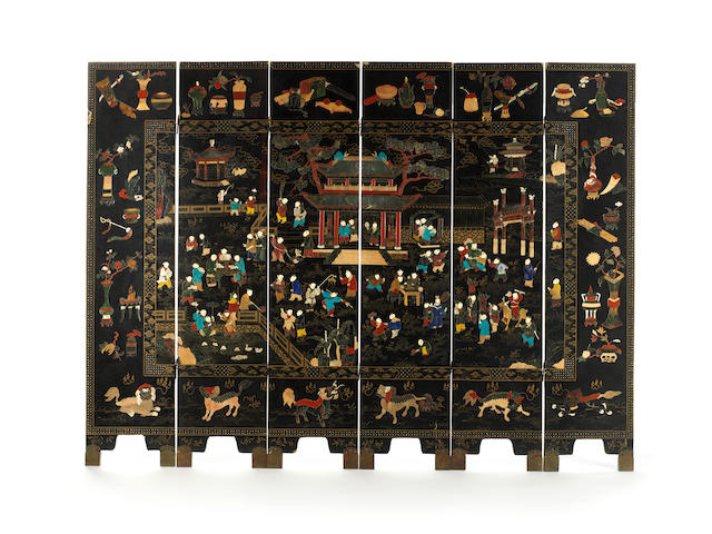 An inlaid lacquer six-leaf 'children' screen Late Qing Dynasty
