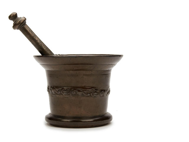A mid-17th century bronze mortar, English, circa 1640 Probably by John Clifton of the Whitechapel Foundry, London