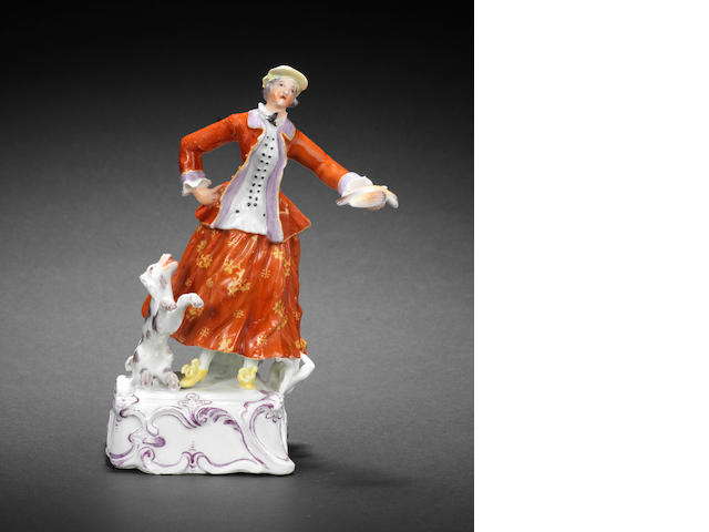 A Longton Hall figure of a lady huntress, circa 1756-58