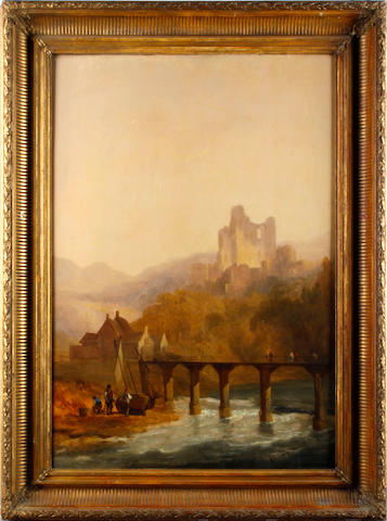 English School, 19th Century Riverscape with tower