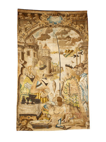 A 17th Century part tapestry panel