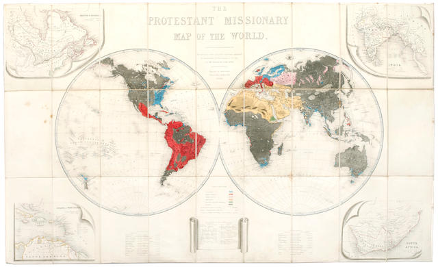 WORLD MAP The Protestant Missionary Map of the World, 1846