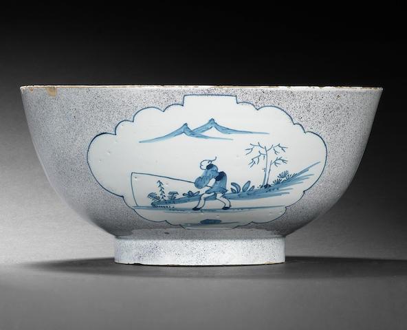 A Bristol or Wincanton delftware bowl, circa 1740-50