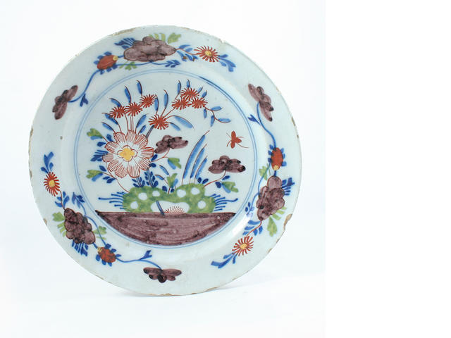 An English Delft plate, circa 1760