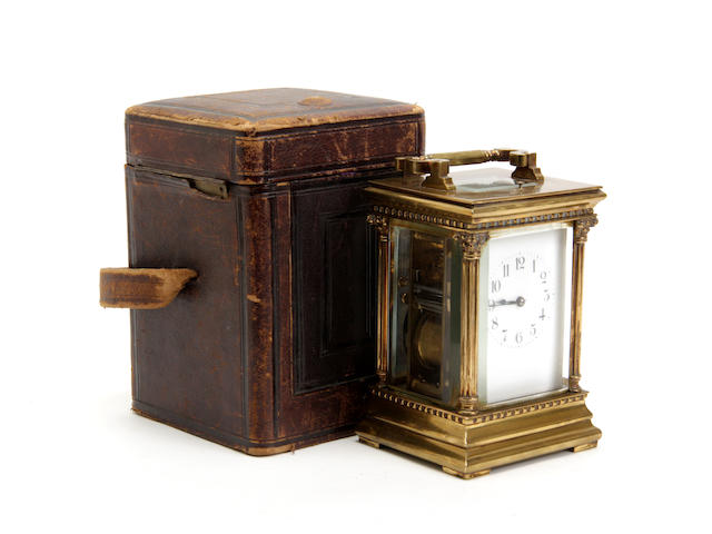 An early 20th century brass repeating petite sonnerie carriage clock