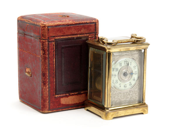 An early 20th century carriage clock