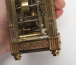 A mid 20th cnetury brass alarm carriage clock
