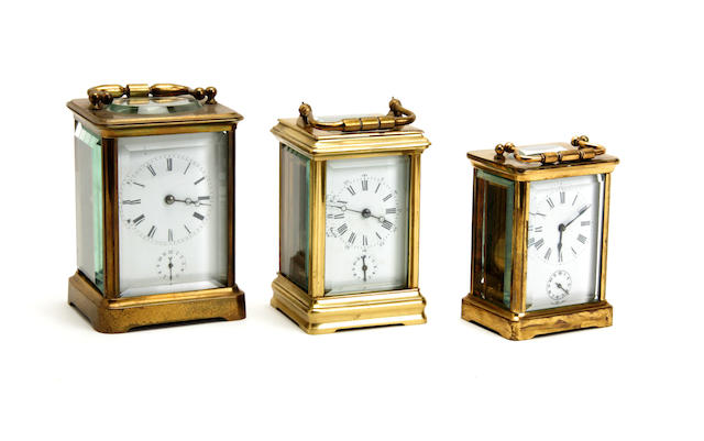 An early 20th century brass carriage clock