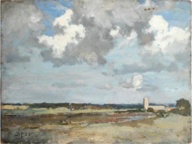 Bertram Priestman (British, 1868-1951) Landscape with church unframed
