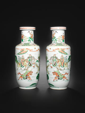 A pair of famille verte vases 19th century [CHECK DATE]