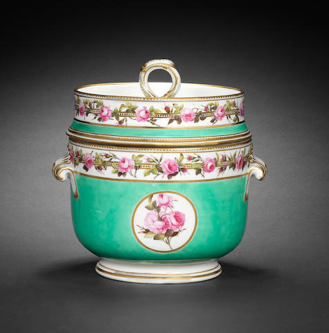 A good Derby ice pail, cover and liner, circa 1795