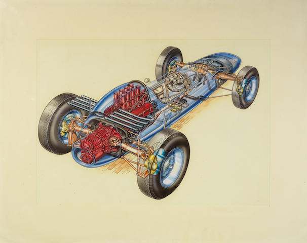 Keith E Rainer, '1963 Lotus-Ford Mk 29 Indianapolis car' cut-away illustration,