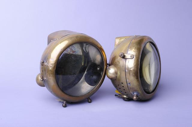 A pair of Phares Besnard headlamps,