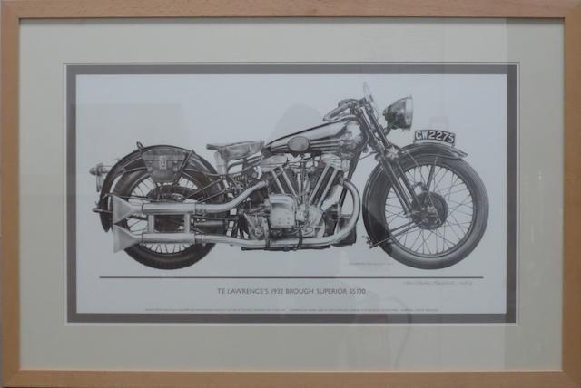 'T E Lawrence's 1932 Brough Superior SS100', a signed limited edition print after Christopher Marshall,