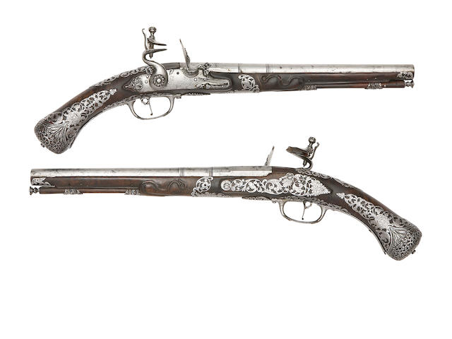 A Pair Of Brescian 30-Bore Flintlock Holster Pistols