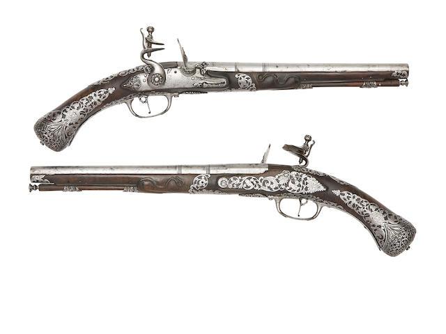 A Pair Of Brescian 30-Bore Flintlock Holster Pistols