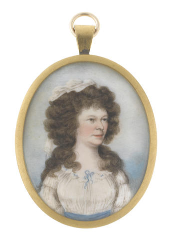 Frederick Buck (Irish, 1771-circa 1840) A Lady, wearing white dress drawn beneath her neck with a blue ribbon bow, matching blue sash to her waist, her hair worn à la conseilleur and dressed with a white handkerchief
