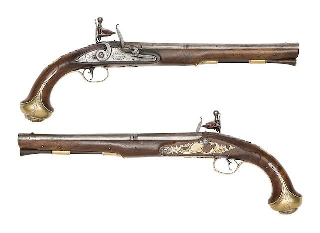A Rare Pair Of Irish 22-Bore Rifled Brass-Mounted Flintlock Holster Pistols
