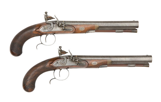 A Fine Pair Of 32-Bore Flintlock Duelling Pistols