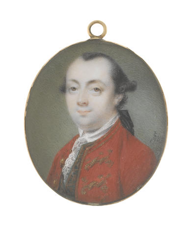 Luke Sullivan (Irish, 1705-1771) A Gentleman, wearing vermilion coat edged with gold braiding, dark green waistcoat embellished with gold embroidery, white chemise, stock and lace cravat, his hair worn en queue and tied with a black ribbon bow