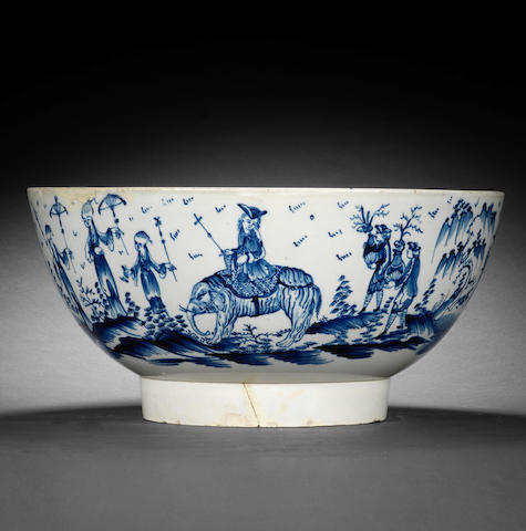 An unusual pearlware punch bowl, circa 1780
