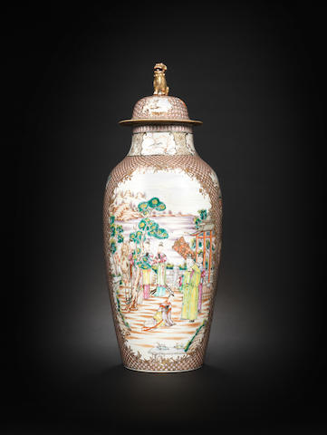 A famille rose baluster vase and cover Qianlong